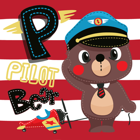 Pilot teddy bear with toy airplane on red and white lined background illustration vector. Illustration