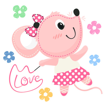 Beautiful little ballerina rat dancing with ribbon wand isolated on white background illustration vector.
