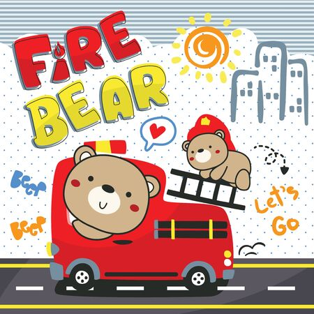 Bear and His brother driving playing toy bus car fire truck on street illustration vector.