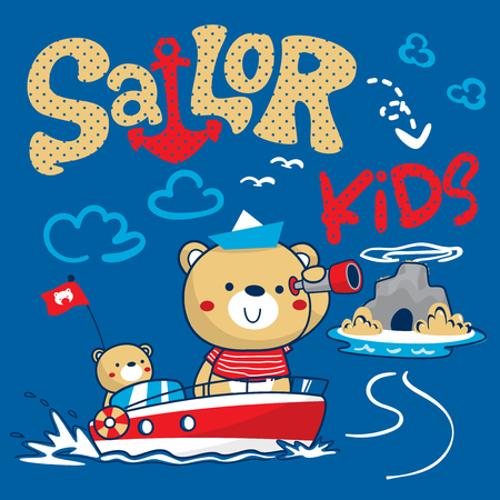 Sailor bear and his brother finding treasure near small island illustration vector.
