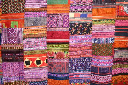 handwork: tradition handwork fabric of hill tribe at northern of Thailand  Stock Photo