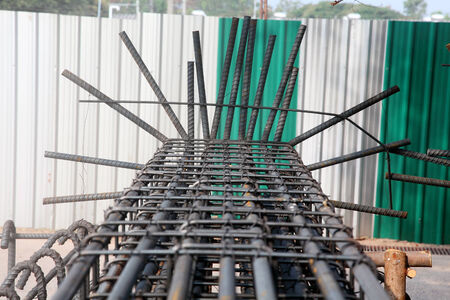 Reinforcing steel bars for building armature  Stock Photo