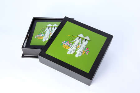 coasters under glasses on a white background  photo