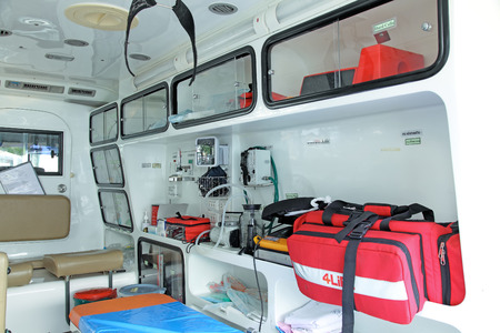 Equipment for ambulances. View from inside. photo