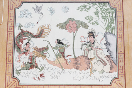 Chinese style painting on wall of shrine in Thailand  Editorial