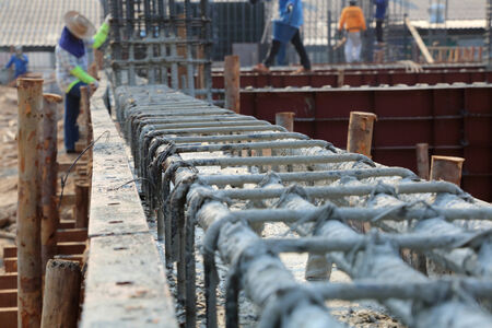 Reinforcing steel bars for building armature  photo