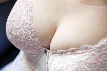 Close up of a womans breasts  photo