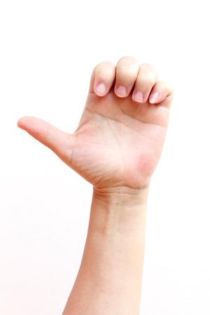 asl: Finger sign in American Sign Language (ASL).