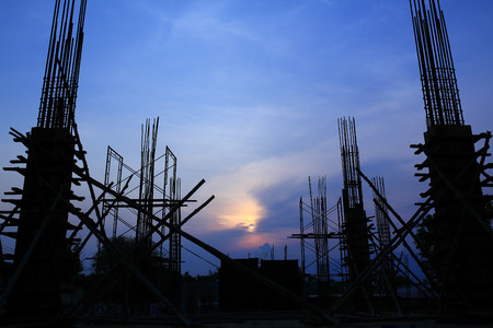 construction material: Construction Site silhouettes  Stock Photo