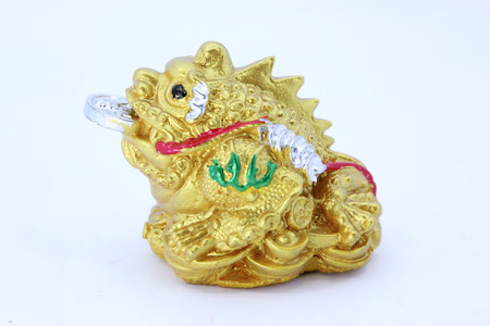 Chinese Feng Shui Frog with coins, symbol for abundance and luck  photo