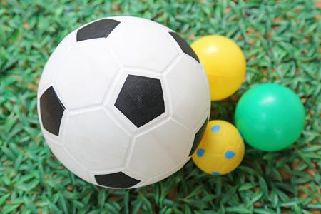 soccer ball on artificial grass photo