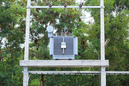 three phase: Three phase conservator type oil immersed transformer on concrete platform
