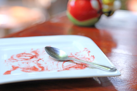 Soiled cake plate on wood table