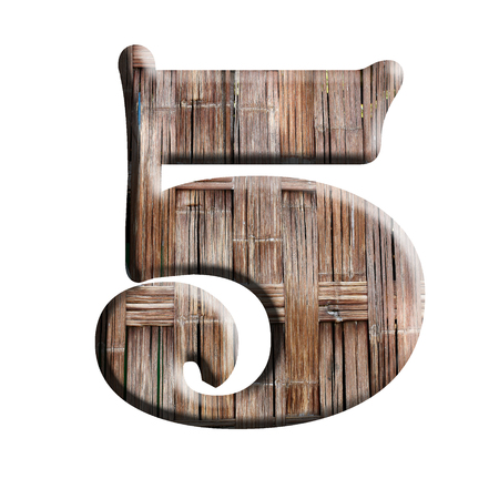 Number in Wood texture on white background photo