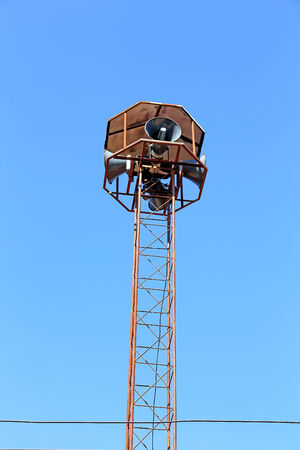 mega phone: speakers on the background of blue sky