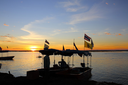 narew: boats on swamps. Sunrise landscape. in Thailand