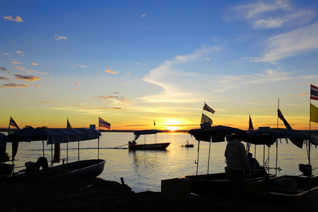 boats on swamps. Sunrise landscape. in Thailand photo