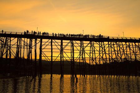 sangkhla buri: Wooden Mon Bridge during sunset, Sangkhla Buri,Kanchanaburi province, Thailand