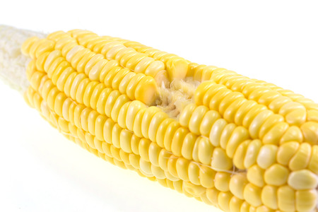 bitten: Isolated cooked bitten corncob Stock Photo