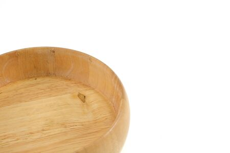 desing: Empty wooden bowl  on white background.for desing