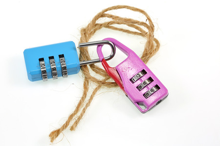 combination: Two Combination padlock  on white.for design.