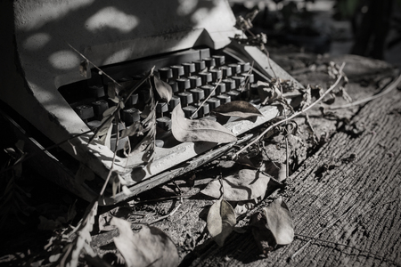 dumped: Old Thai typewriter,dumped. black and white style.