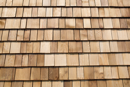 shingles: Close up of brown wood roof shingles. Stock Photo