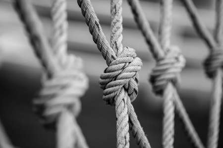 cordage: Rope with a knot black and white style