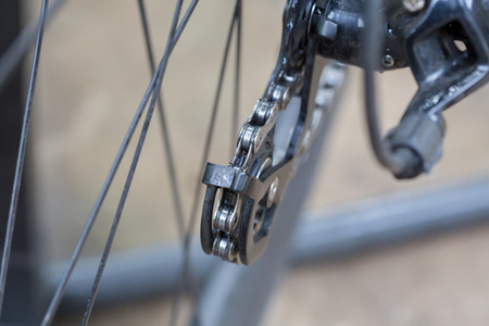Bicycle rear derailleur against Stock Photo