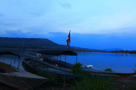 Fishing boat on lake THAILAND Standard-Bild