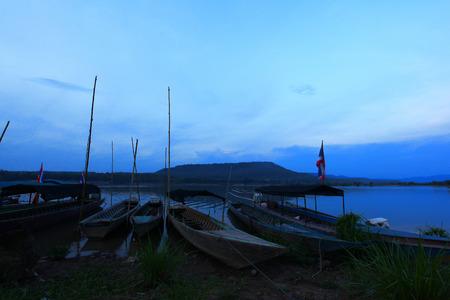 Fishing boat on lake THAILAND Stock Photo