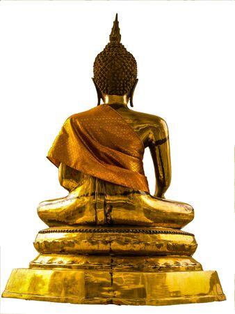 Golden Buddha sitting back on a white background. photo