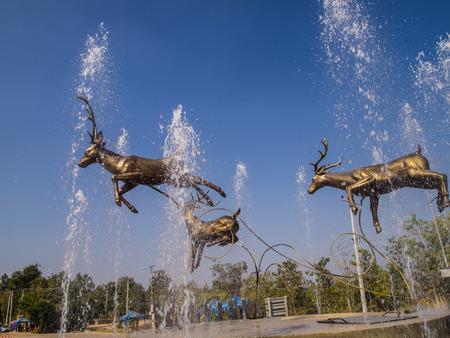 fountains: Deer statues, fountains, floating in the pool. Stock Photo
