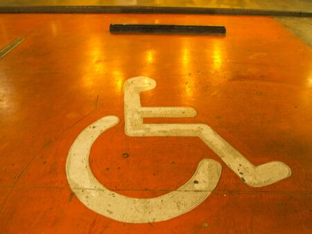 one man only: Disabled parking only on the color orange.