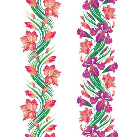 sem costura: Fronteira de flor sem emenda com  Ilustra��o