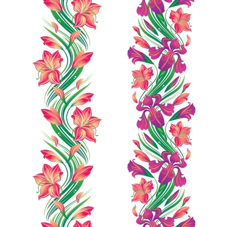 Seamless flower border with irises and lilies Illustration