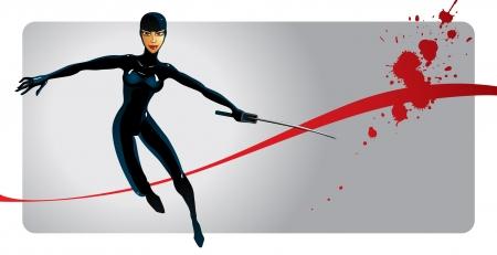 Ninja girl Stock Vector - 16622217