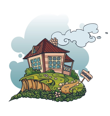Little house on the hill Stock Vector - 16622171