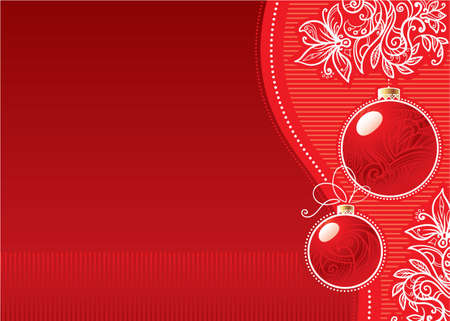 Christmas background with glass balls and doodle flowers
