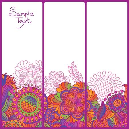 Vintage flower doodle background