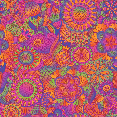 autmn: Vintage flower doodle seamless pattern