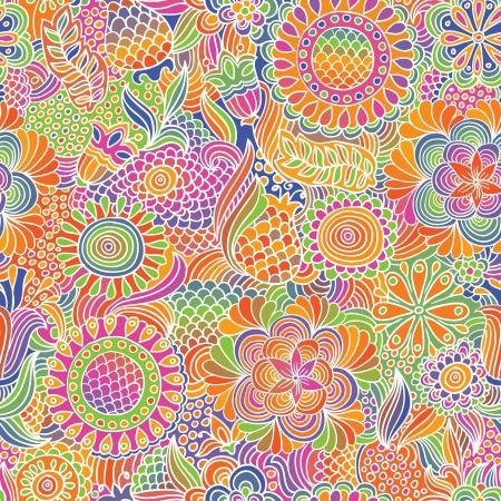 Vintage flower doodle seamless pattern