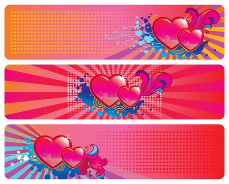 Set of three banners for Valentine s Day