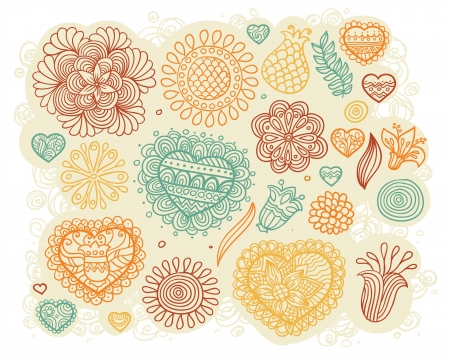 Set of doodle hearts and flowers Illustration