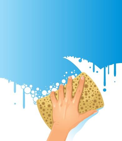 domestic chore: Ilustraci�n de la mano con esponja de limpieza alguna superficie