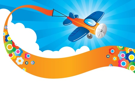 Vector illustration of airplane with banner