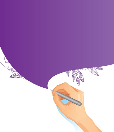 Vector background with drawing hand