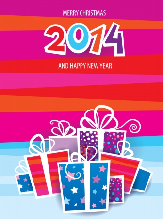Christmas 2014 vector card Illustration