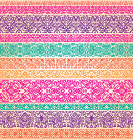 Set of seamless lace vector borders