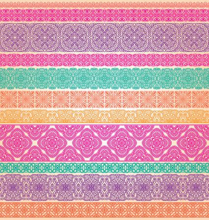 flower patterns: Set van naadloze kant vector grenzen Stock Illustratie
